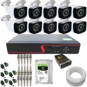 kit Vigilância 10 Câmeras Infravermelho AHD 1.3 Megapixel 720p + DVR 16 Canais Multi HD