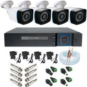 Kit Vigilância 4 Câmeras Bullet Anko 1.3 Megapixel 720p 24 leds Infravermelho + DVR Anko 4 Canais