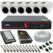 Kit Vigilância 6 Câmeras Dome Híbrida Full HD 2.0 Megapixel 18 Leds SMD + Gravador DVR 8 Canais