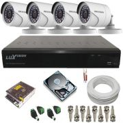 Sistema cftv com 4 câmeras Full HD 2.0 Megapixel DVR Luxvision ECD ALL HD 4 canais