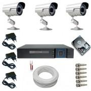 Sistema CFTV Completo com 3 Câmeras Segurança Infravermelho DVR Multi HD 4 canais + HD 250 GB