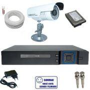 Sistema de Monitoramento 1 Câmera Analógica 1000 linhas infravermelho DVR Stand Alone Multi HD