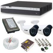 Sistema de Monitoramento 2 Câmeras Bullet HB Full HD 2.0 Megapixel + DVR Intelbras 3004 Full HD