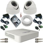 Sistema de Monitoramento 2 Câmeras Dome Infravermelho AHD 1.3 Mp + DVR JFL DHD-2004N 5 em 1