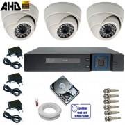 Sistema de Monitoramento 3 Câmeras Infravermelho AHD 1.0 Mp 720p + DVR 4 Canais