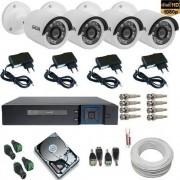 Sistema de Monitoramento 4 Câmeras Giga Full HD 2.0 Mp 1080P DVR 4 Canais + HD 1Tb