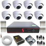 Sistema de Monitoramento 8 Câmeras Dome Ferro com Resolução em AHD 1.3 MP + DVR com Acesso a Internet.