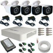 Sistema de Segurança 4 Câmeras Bullet Infravermelho AHD 1.3 Mp 720p - DVR JFL 4 Canais