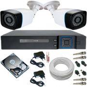 Sistema de Vigilância 2 Câmeras 24 Leds Infravermelho AHD 1.3 Mp + DVR Multi HD