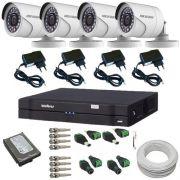Sistema de Vigilância 4 Câmeras Full HD 1080p 2.0 Mp DVR Intelbras Multi HD