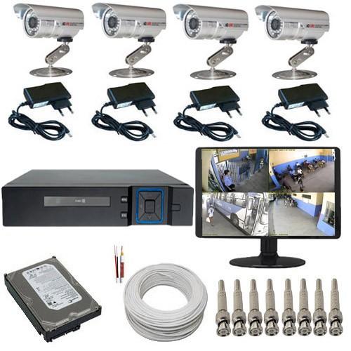 Sistema de Monitoramento com 04 Câmeras infravermelho DVR Multi HD 5 em 1 + Monitor e Acessórios  - Tudoseg Cftv - Sistemas de Segurança Eletrônica