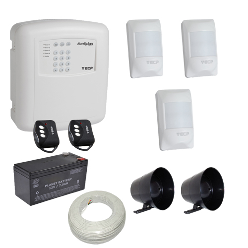 Kit alarme residencial / comercial completo 3 sensores sem fio e discadora telefônica - ECP  - Tudoseg Cftv - Sistemas de Segurança Eletrônica