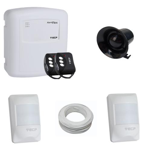 Kit Basic sistema de alarme 2 sensores de presença com fio- ECP  - Tudoseg Cftv - Sistemas de Segurança Eletrônica