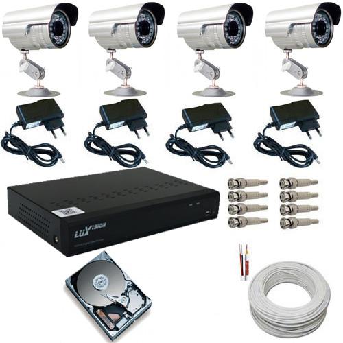 Kit 4 Câmeras Segurança Infravermelho Gravador dvr Luxvision HD 500gb e Acessórios  - Tudoseg Cftv - Sistemas de Segurança Eletrônica
