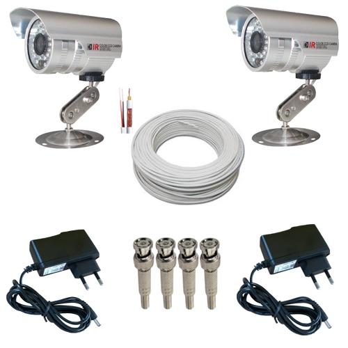 Kit 2 Câmeras Monitoramento Infravermelho 1000 linhas 36 leds + 2 Fontes + 4 Conectores + 30 Metros Cabo  - Tudoseg Cftv - Sistemas de Segurança Eletrônica