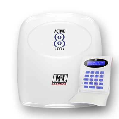 Central de Alarme Monitorada JFL Active 8 Ultra (mudular) com Teclado  - Tudoseg Cftv - Sistemas de Segurança Eletrônica