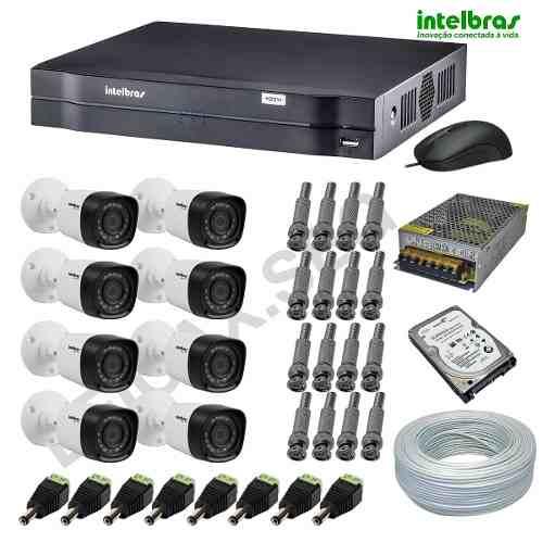 CÂMERAS DE SEGURANÇA INTELBRAS KIT COM 08 UNIDADES HD 720P COM GRAVADOR DVR E ACESSO INTERNET  - Tudoseg Cftv - Sistemas de Segurança Eletrônica
