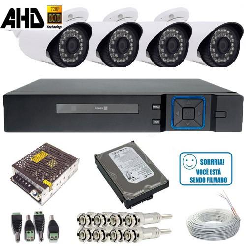 Kit 04 Câmeras de Vigilância AHD 1.3 Megapixel Dvr Multi HD 4 canais + HD 250 gigas  - Tudoseg Cftv - Sistemas de Segurança Eletrônica