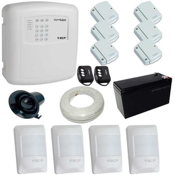 Kit de Alarme Residencial e Comercial com 1 Central de Alarme Alard Max 1 ECP + 10 Sensores  - Tudoseg Cftv - Sistemas de Segurança Eletrônica