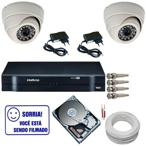 Sistema de Vigilância 2 Câmeras Dome analógicas 1000 linhas + DVR Intelbras MHDX Multi HD  - Tudoseg Cftv - Sistemas de Segurança Eletrônica