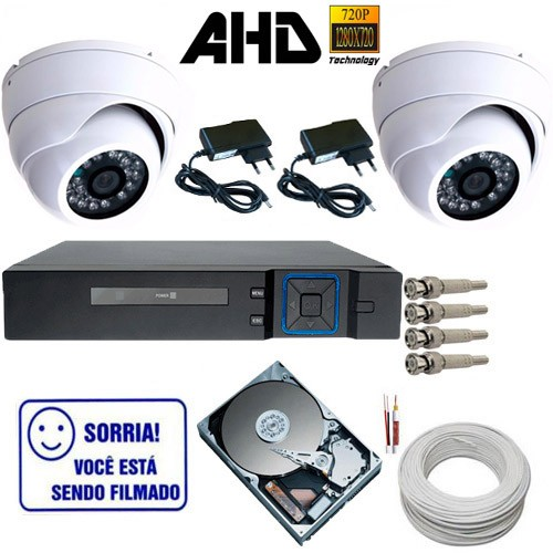 Kit Vigilância 2 Câmeras Dome de Metal AHD 1.3 Megapixel DVR Stand Alone Multi HD  - Tudoseg Cftv - Sistemas de Segurança Eletrônica