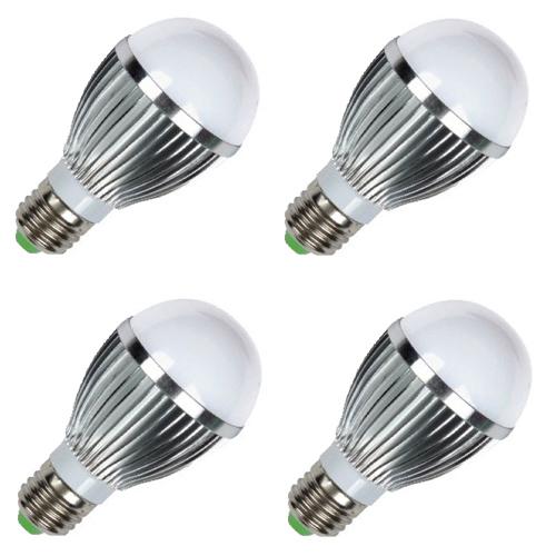 Kit 04 Lâmpadas Led 5W Branco Frio Bulbo E27 em alumínio 110/220V  - Tudoseg Cftv - Sistemas de Segurança Eletrônica