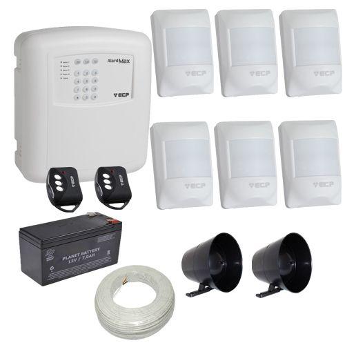 Alarme ECP Central Alard Max 1 com Discadora Incorporada + 6 Sensores Infravermelho Visory  - Tudoseg Cftv - Sistemas de Segurança Eletrônica