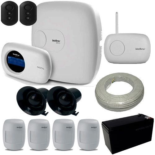 Alarme Intelbras Central AMP E Ethernet 18 Zonas 4 Sensores Infravermelho Sem Fio  - Tudoseg Cftv - Sistemas de Segurança Eletrônica