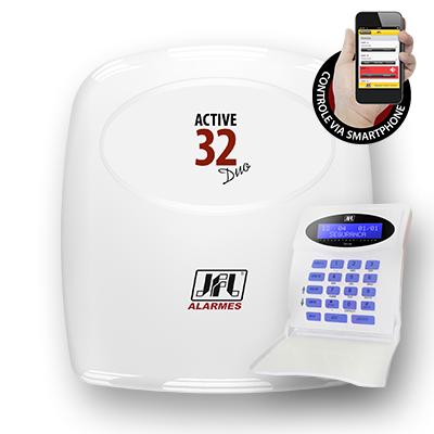 Central de Alarme JFL Active 32 Duo Monitorável Com 32 Zonas Aceita sensores sem fio - Teclado LCD  - Tudoseg Cftv - Sistemas de Segurança Eletrônica