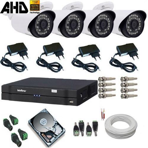 Kit 04 Câmeras AHD 1.3 Mp Alta Definição + Dvr Intelbras Completo - Acesso Celular  - Tudoseg Cftv - Sistemas de Segurança Eletrônica