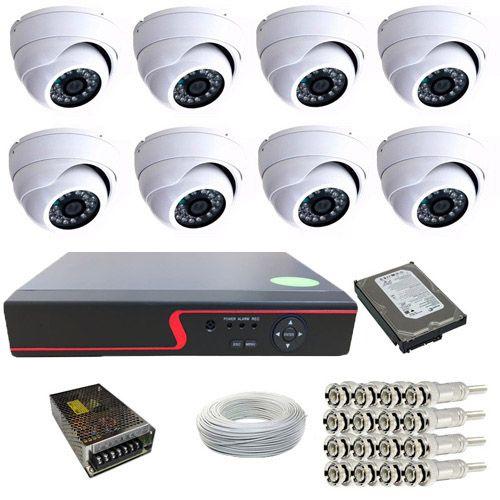 Kit 08 Câmeras Infravermelho Dome 1000 linhas Dvr 8 Canais HD 500 Gigas Acessórios  - Tudoseg Cftv - Sistemas de Segurança Eletrônica