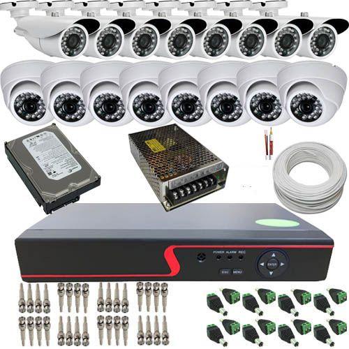 Kit Monitoramento 16 Câmeras Infravermelho AHD 720p DVR Multi HD 16 Canais - Acesso Remoto  - Tudoseg Cftv - Sistemas de Segurança Eletrônica