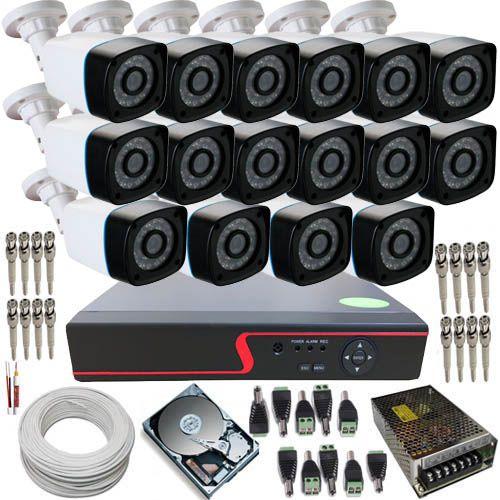 KIT 16 CÂMERAS INFRAVERMELHO 30 METROS AHD 1.3 MEGAPIXEL + DVR COM ACESSO À INTERNET  - Tudoseg Cftv - Sistemas de Segurança Eletrônica