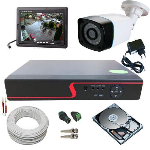 Kit 1 Câmera de Segurança AHD 1.3 Megapixel 30 Metros DVR 4 Canais Acesso P2p + Monitor  - Tudoseg Cftv - Sistemas de Segurança Eletrônica