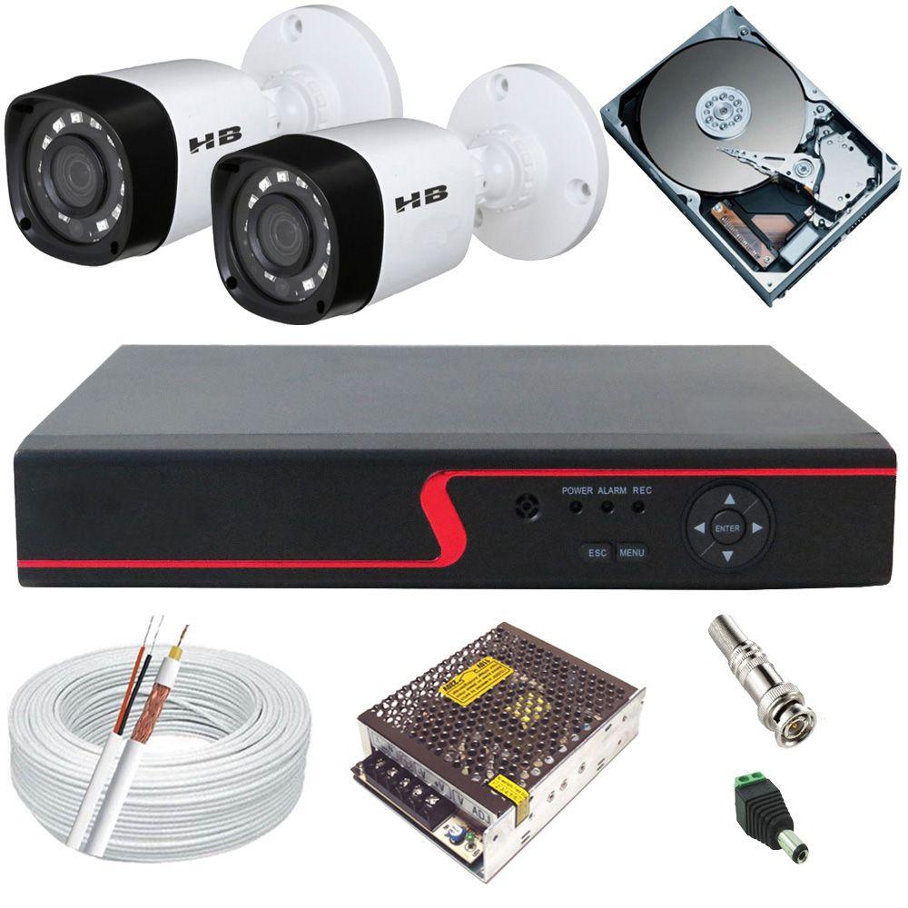 Kit Monitoramento 2 Câmeras Híbridas + Dvr 4 Canais com Acesso à Internet  - Tudoseg Cftv - Sistemas de Segurança Eletrônica