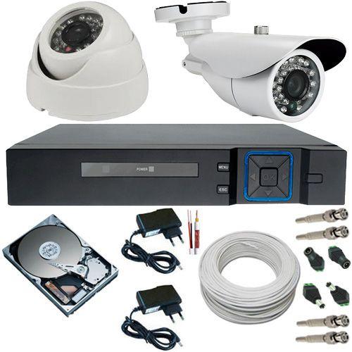 Kit 2 Câmeras Infravermelho AHD 720p Alta Resolução DVR Stand Alone Multi HD 4 Canais - Acesso Nuvem  - Tudoseg Cftv - Sistemas de Segurança Eletrônica
