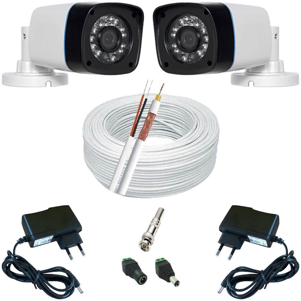 Kit 2 Câmeras Monitoramento Infravermelho AHD 1.3 Megapixel + 2 Fontes + 4 Conectores + 30 Metros Cabo  - Tudoseg Cftv - Sistemas de Segurança Eletrônica