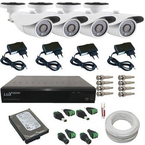 Kit 4 Câmeras de Monitoramento AHD 1.3 Mp Infravermelho Dvr Luxvision ALL HD Acesso Nuvem  - Tudoseg Cftv - Sistemas de Segurança Eletrônica