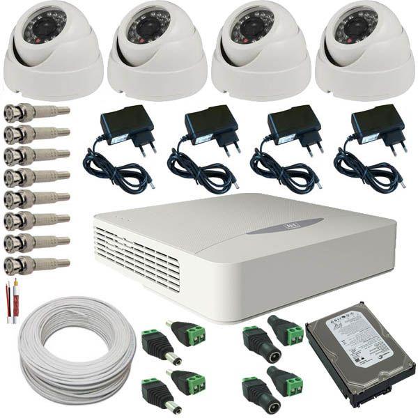 Kit 4 Câmeras de Segurança Dome Infravermelho AHD 1.3 Megapixel 720p + DVR JFL 4 Canais  - Tudoseg Cftv - Sistemas de Segurança Eletrônica