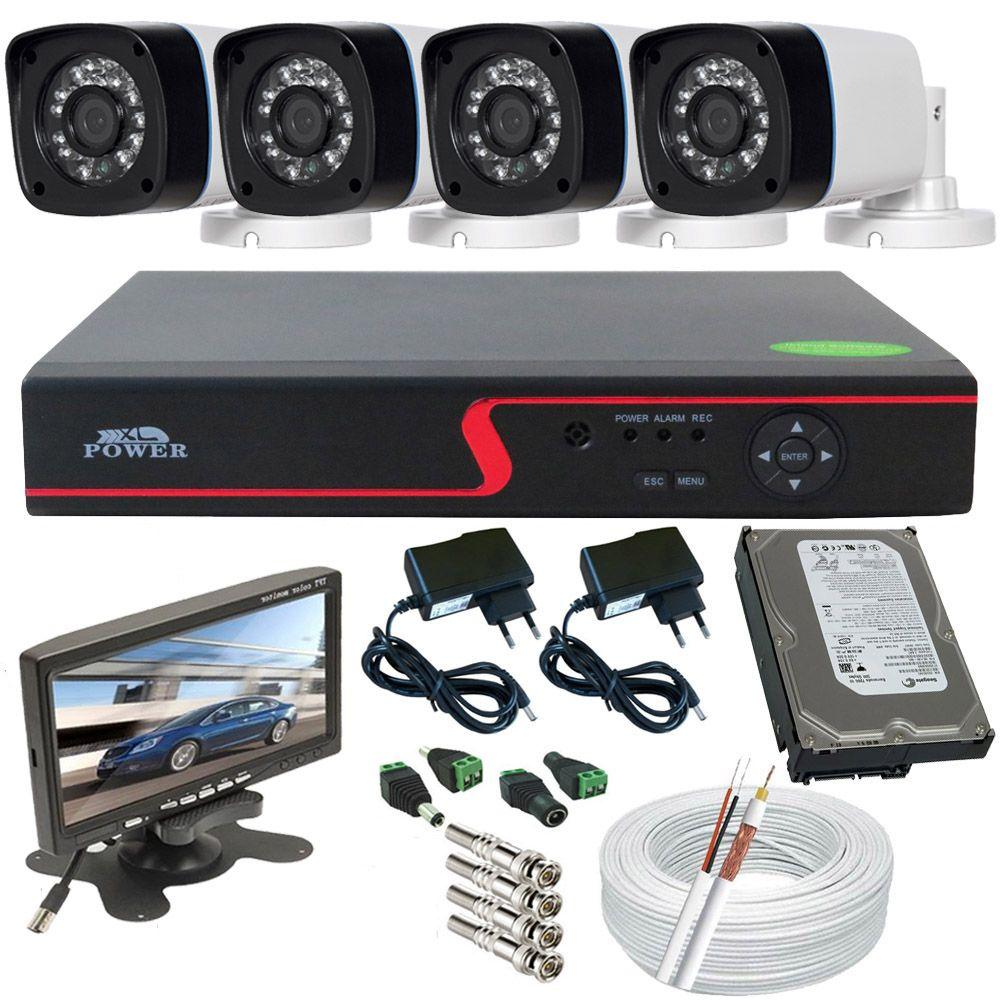 """Kit 4 Câmeras de Segurança Infravermelho AHD 1.3 Mp Gravador Dvr Acesso Internet Monitor 7""""  - Tudoseg Cftv - Sistemas de Segurança Eletrônica"""