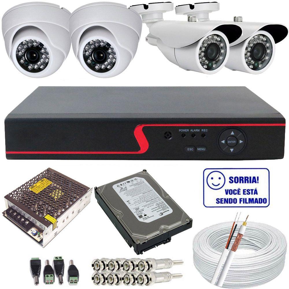 Kit 4 Câmeras de Segurança Infravermelho Alta Resolução + DVR com Acesso Via Internet  - Tudoseg Cftv - Sistemas de Segurança Eletrônica