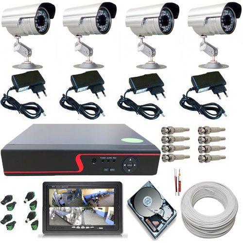 """Kit 4 Câmeras de Segurança Infravermelho Gravador Dvr Acesso Internet Monitor 7""""  - Tudoseg Cftv - Sistemas de Segurança Eletrônica"""