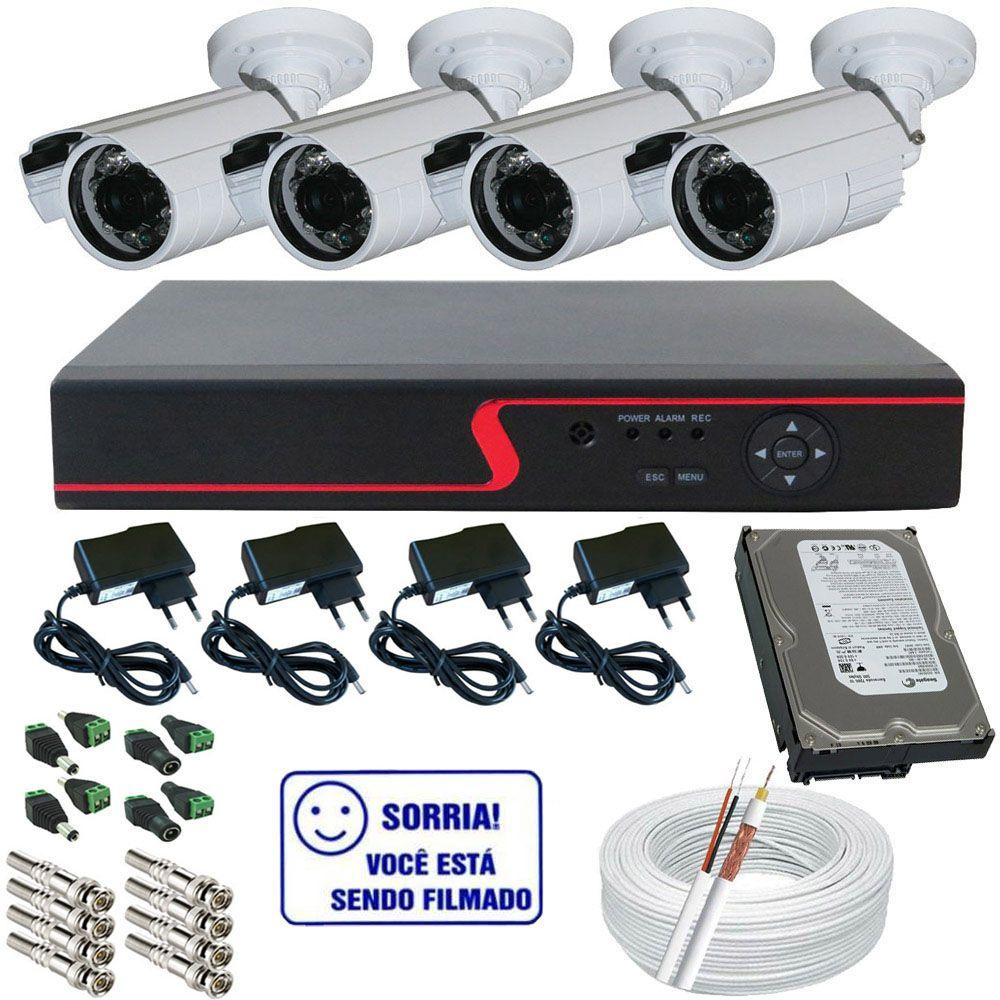 Kit 4 câmeras infravermelho 25 metros AHD 1.3 Megapixel - Dvr Stand Alone Multi HD Acesso Nuvem  - Tudoseg Cftv - Sistemas de Segurança Eletrônica