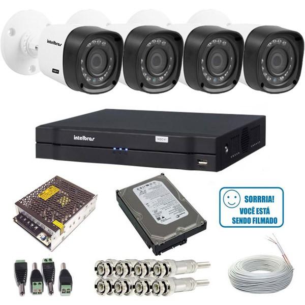 Kit 4 Câmeras Intelbras Infravermelho 1010B Multi HD 1.0 Mp  DVR 4 Canais intelbras + HD 1Tb  - Tudoseg Cftv - Sistemas de Segurança Eletrônica