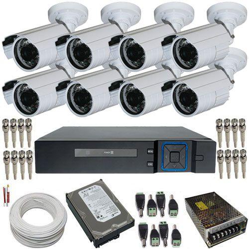 Kit 8 Câmeras de Segurança AHD 1.3 Megapixel 720p + DVR 8 Canais Acesso Via Celular  - Tudoseg Cftv - Sistemas de Segurança Eletrônica