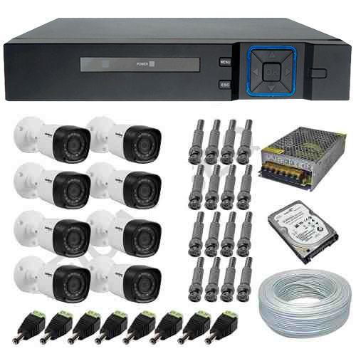 Kit 8 Câmeras de Segurança Intelbras 1010B 1 Megapixel Multi HD + DVR Stand Alone Anko 8 Canais  - Tudoseg Cftv - Sistemas de Segurança Eletrônica