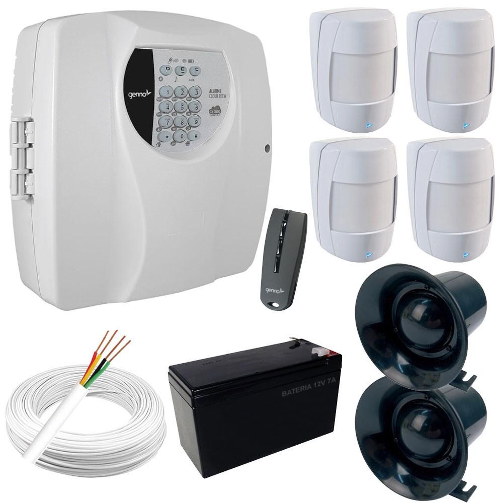 Kit Alarme Central Genno Cloud 10EW Monitorada Com Aplicativo + 4 Sensores Genno IB 500 Com Fio  - Tudoseg Cftv - Sistemas de Segurança Eletrônica