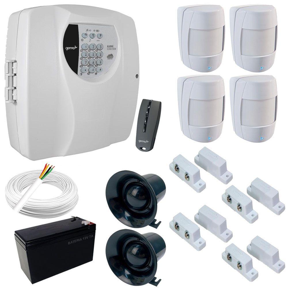 Kit Alarme Completo Genno Central Cloud 10EW Monitorada + 8 Sensores com fio - Acesso Por Aplicativo  - Tudoseg Cftv - Sistemas de Segurança Eletrônica