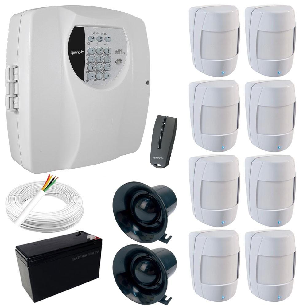 Kit Alarme Genno Central Cloud 10EW Monitorada Por Aplicativo + 8 Sensores IB 600 Sem fio  - Tudoseg Cftv - Sistemas de Segurança Eletrônica