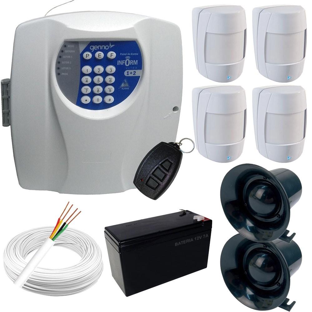 Kit Alarme Genno Central Inform Ultra 1+2 Com Discadora + 4 Sensores Infravermelho Sem fio  - Tudoseg Cftv - Sistemas de Segurança Eletrônica